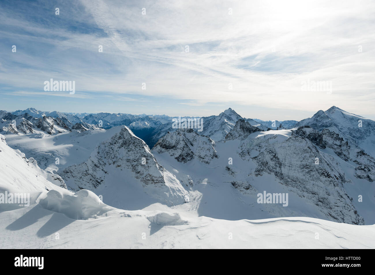 Scenery of snow covered mountains valley Titlis, Engelberg, Switzerland Stock Photo
