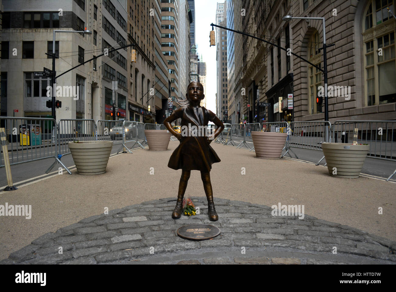 'The Fearless Girl' statue in Lower Manhattan. - Stock Image