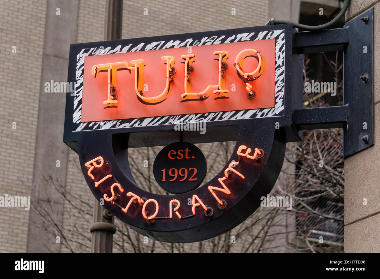 Tulio Ristorante upscale Italian restaurant neon sign  in downtown Seattle, Washington, USA - Stock Image