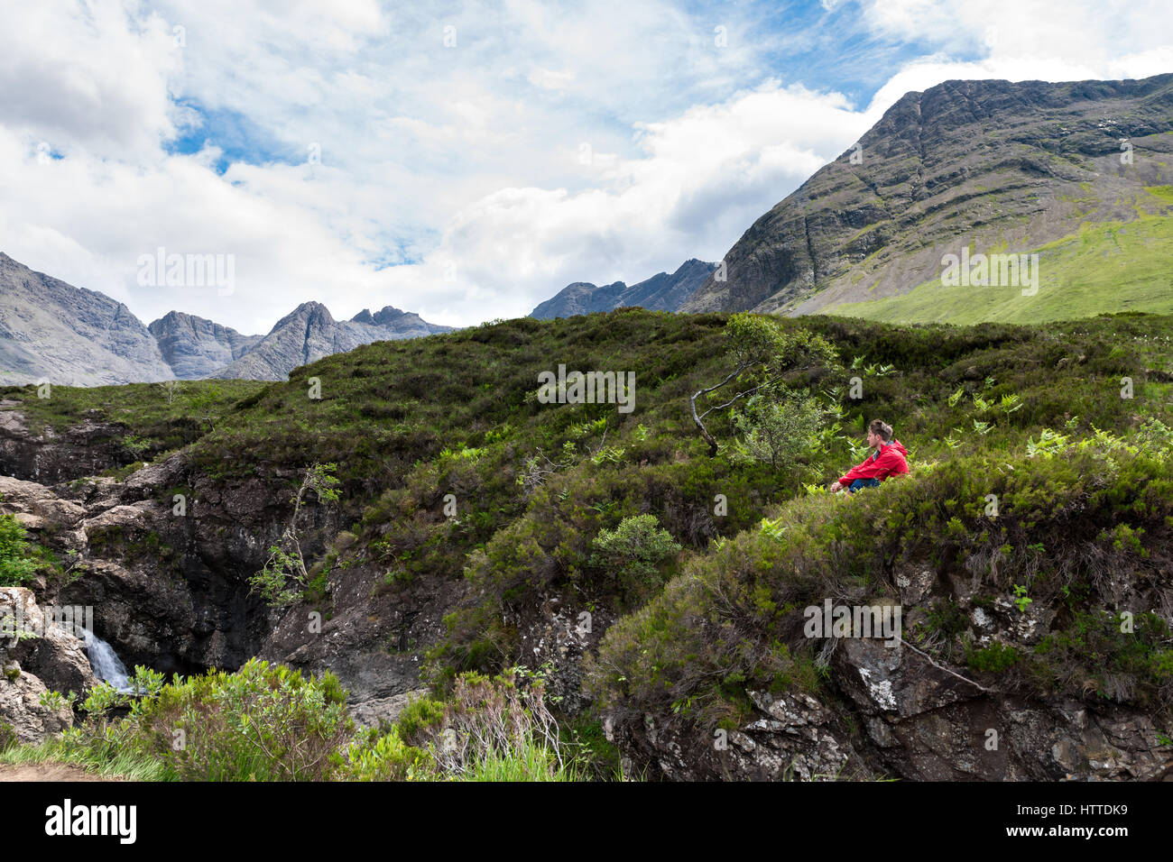 Unplugged, Man admiring the beauty of scottish nature - Stock Image