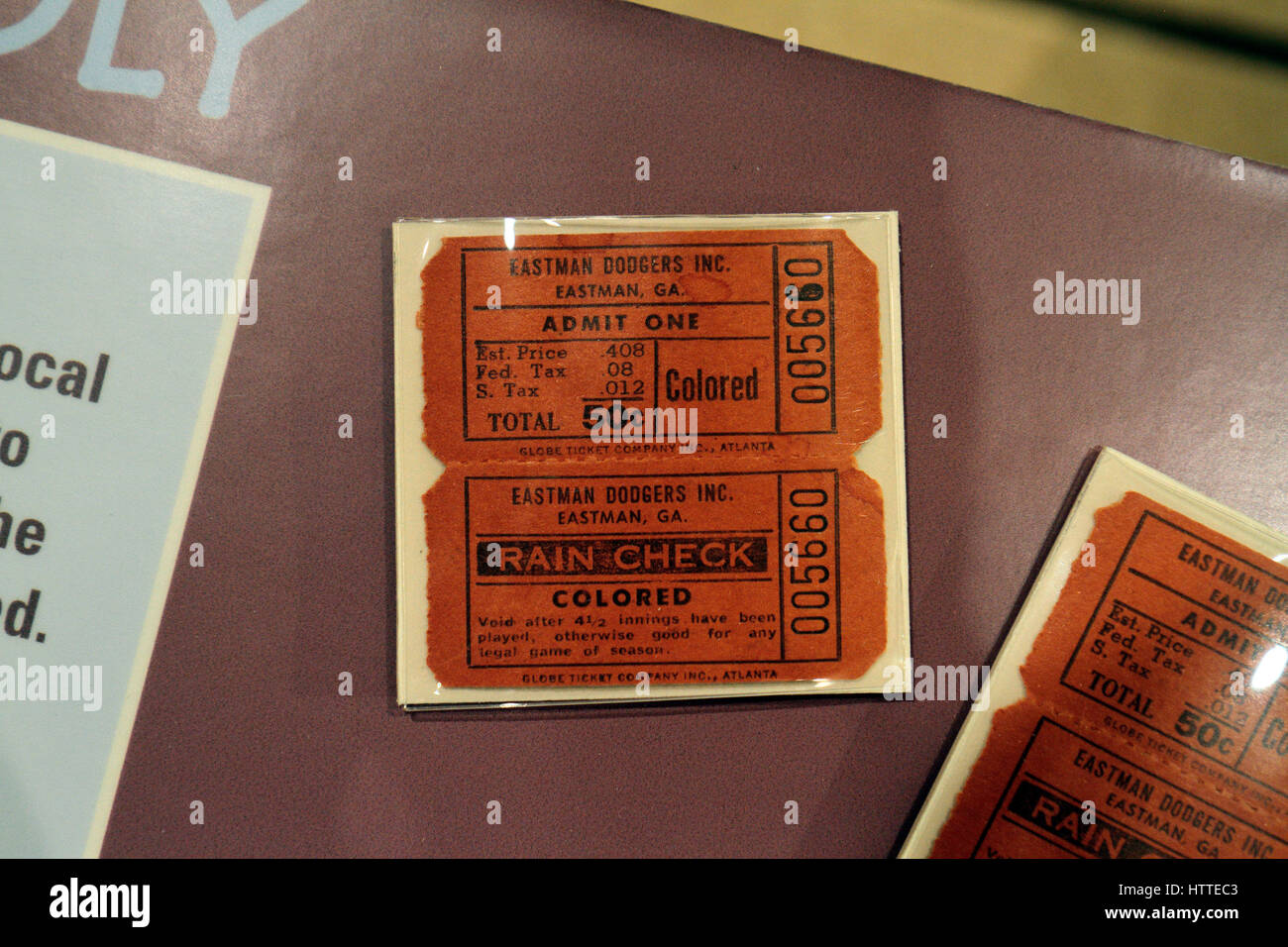 A typical segregated baseball game day ticket from 1953, National Baseball Hall of Fame and Museum , Cooperstown, - Stock Image