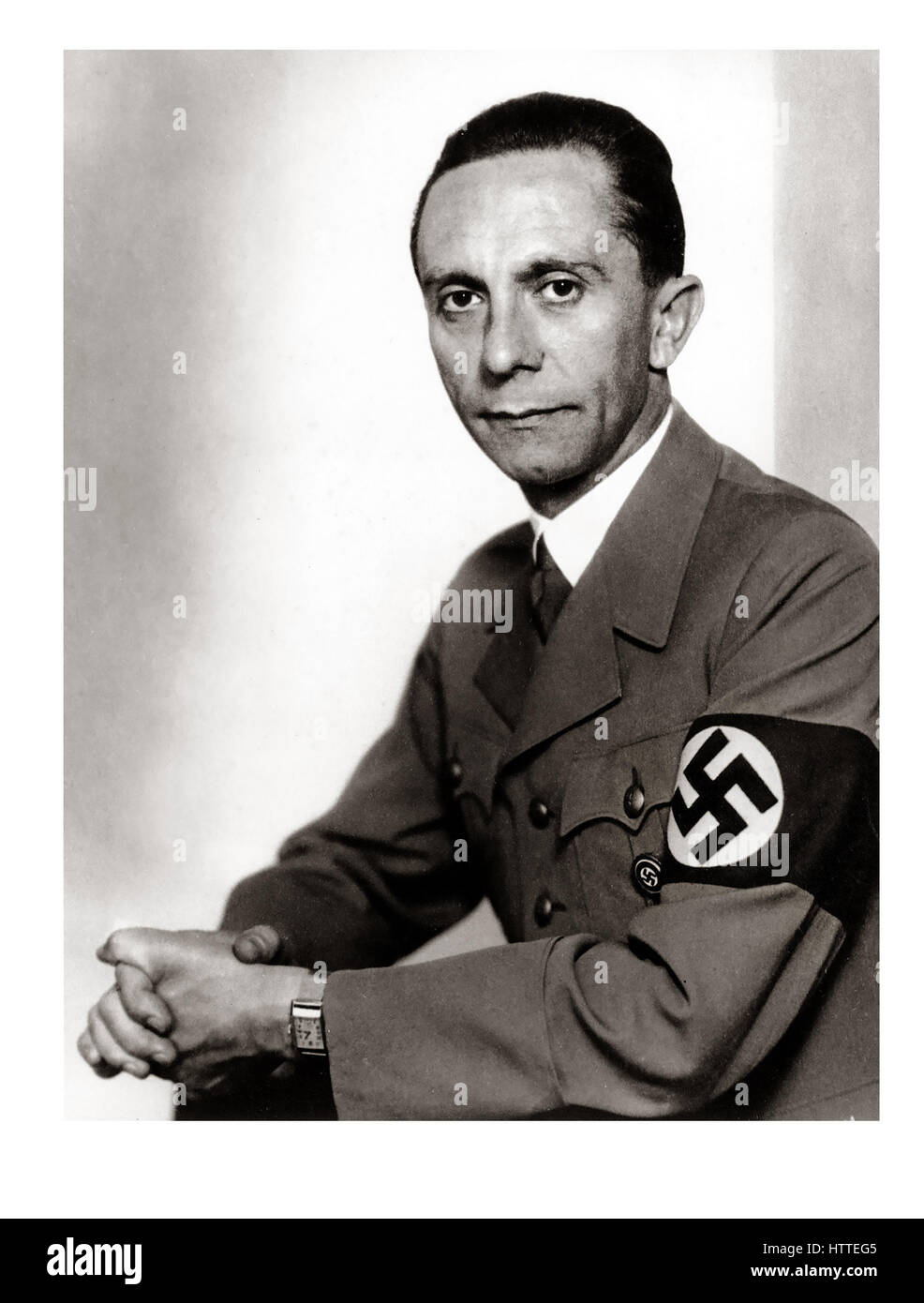 GOEBBELS 1930's portrait of infamous leading propaganda strategist Nazi, Joseph Goebbels wearing NSDAP military - Stock Image