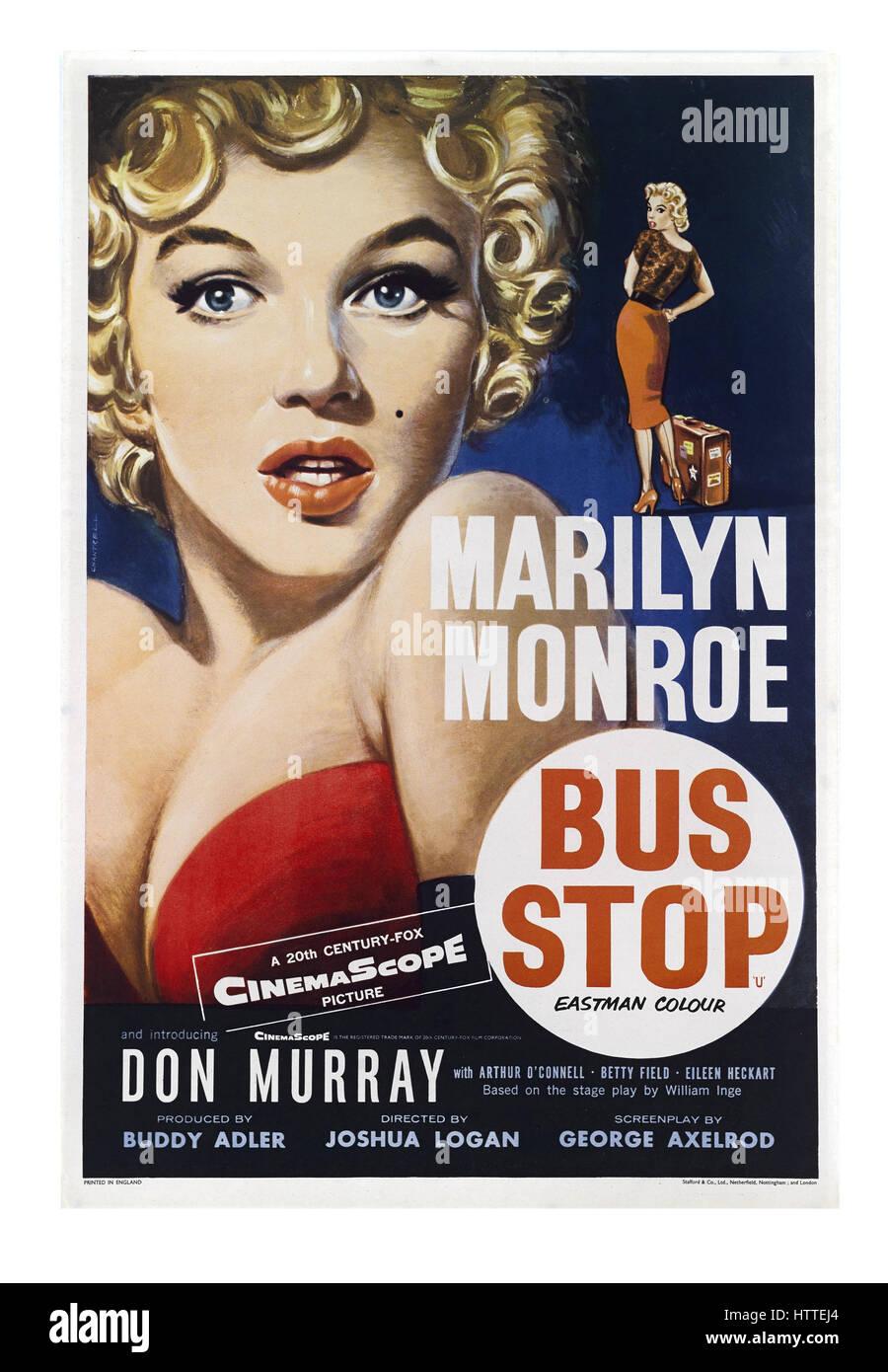 Vintage retro film poster of American Film star Marilyn Monroe starring in 1956 movie 'Bus Stop' - Stock Image