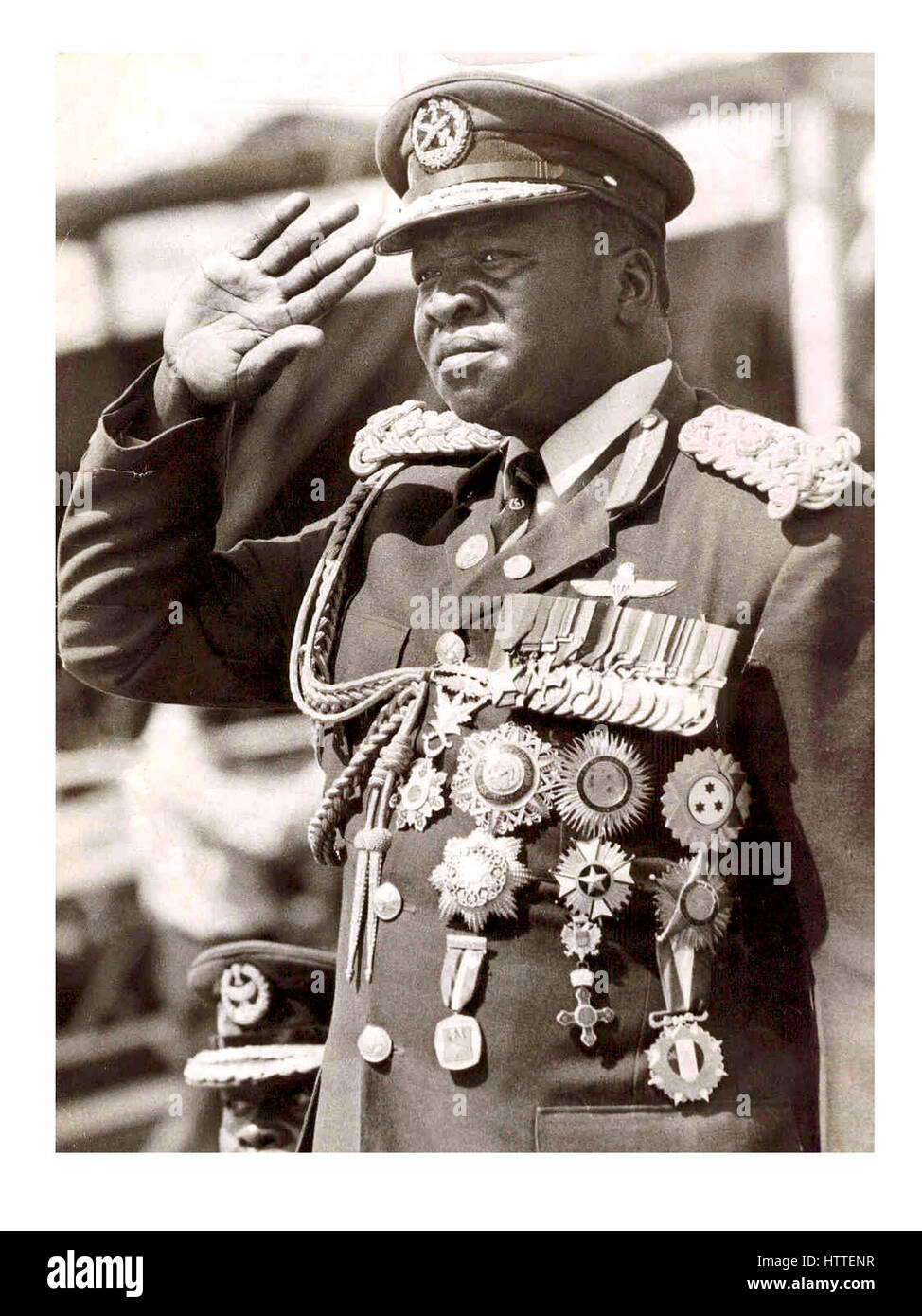 Idi Amin Dada President of Uganda 1971-1979 wearing self awarded medals for valour and service - Stock Image
