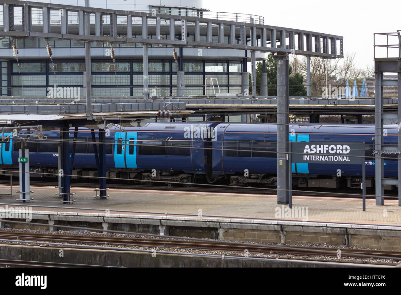 Ashford international train station and southeastern train Ashford, Kent - Stock Image