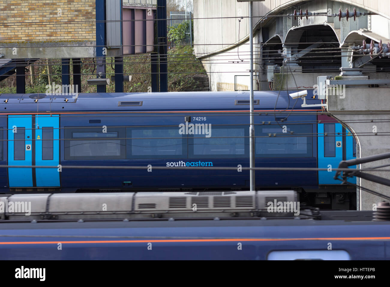 Ashford international train station and southeastern train. Ashford, Kent - Stock Image