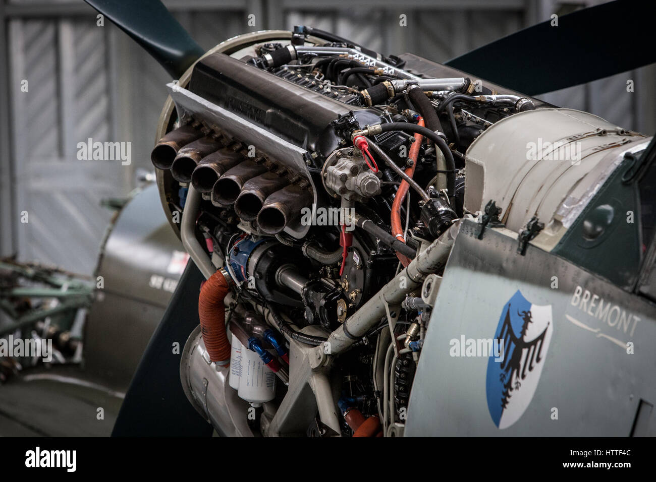 a hispano buchon shows its rolls royce merlin engine at the aircraft stock photo 135763052 alamy. Black Bedroom Furniture Sets. Home Design Ideas