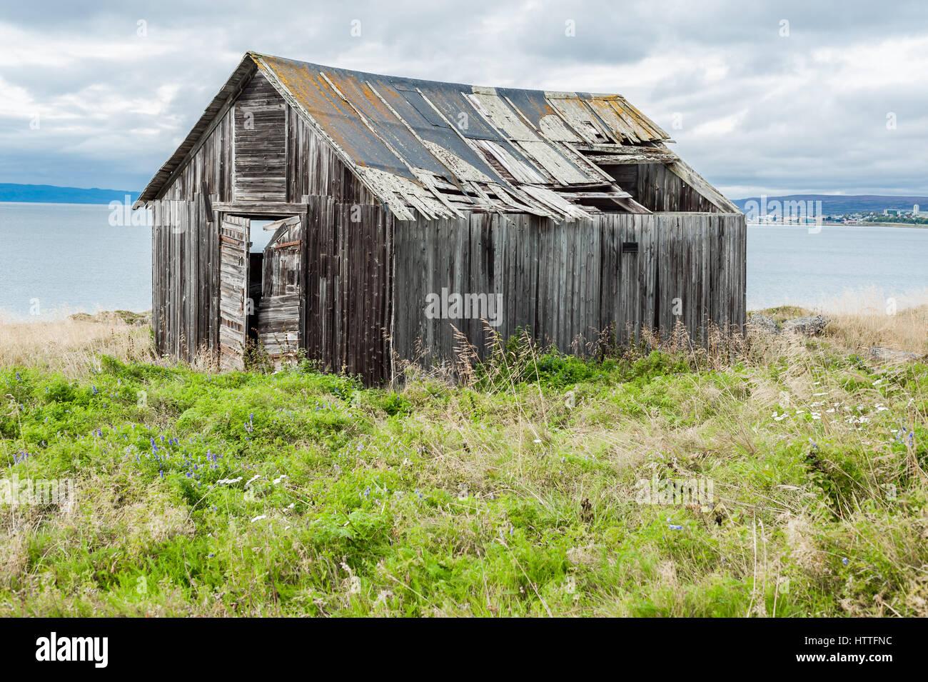 Old wooden decrepit cabin in need of repair with damaged roof and broken door - Stock Image