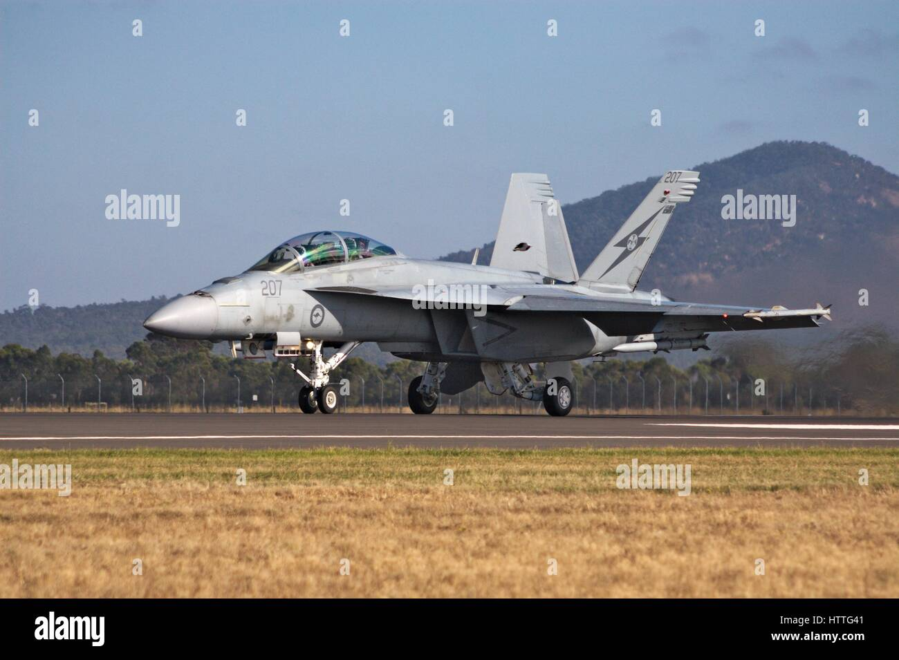 F/A-18F Super Hornet on the runway at the Avalon airshow, Melbourne, Australia, 2017. - Stock Image