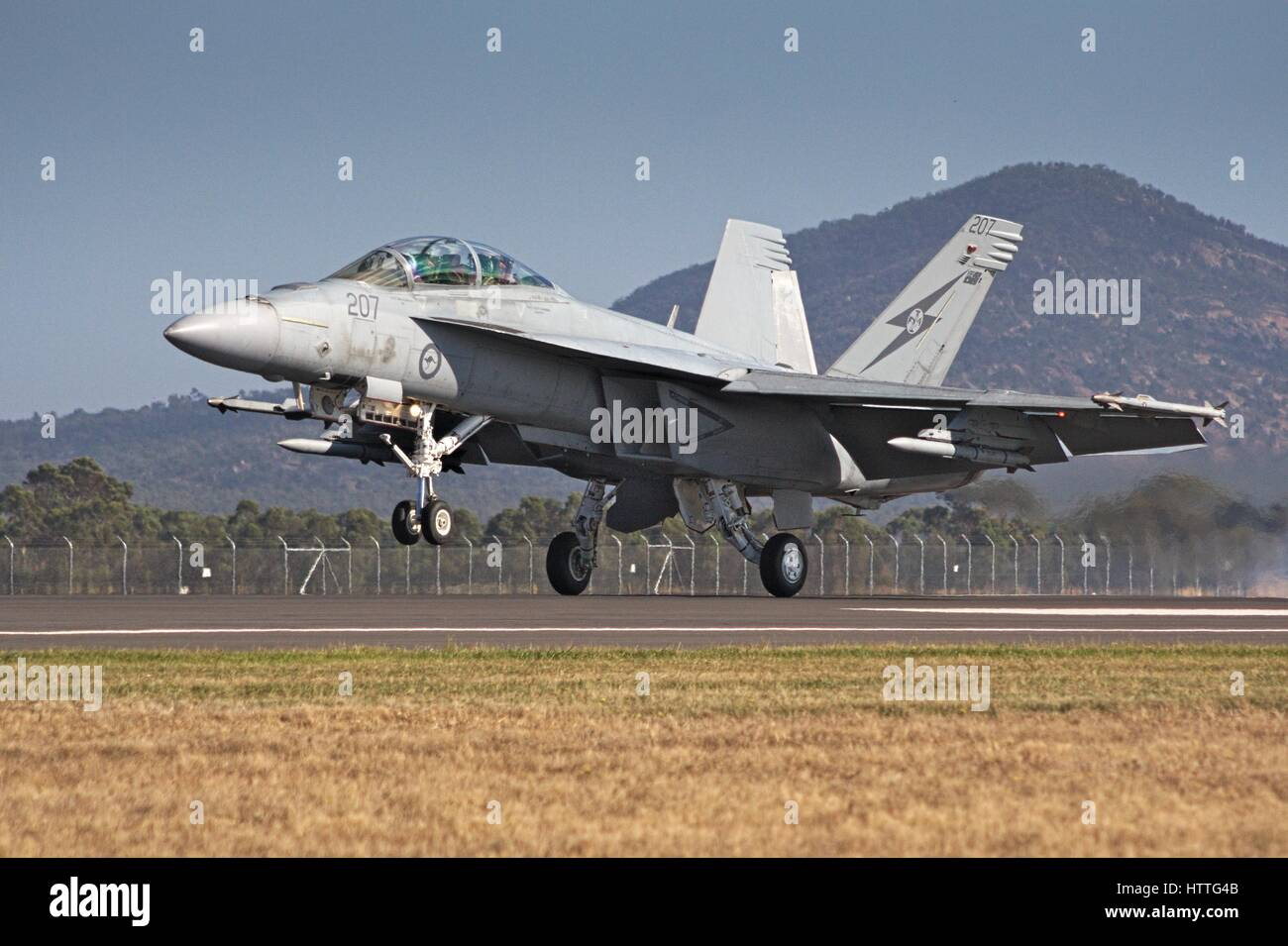 F/A-18F Super Hornet lifting off on the runway at the Avalon airshow, Melbourne, Australia, 2017. - Stock Image