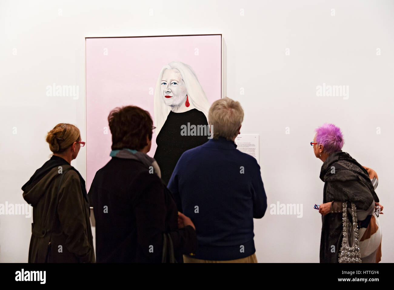 The 2016 Archibald Prize portrait of Roslyn Oxley on display at the Art Gallery of Ballarat,Victoria,Australia. - Stock Image