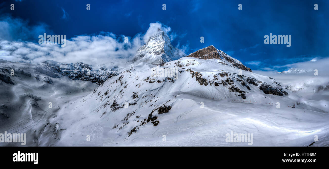 The icon of Switzerland, the Matterhorn, in Zermatt. It may be the highest mountain but it is certainly one of the - Stock Image