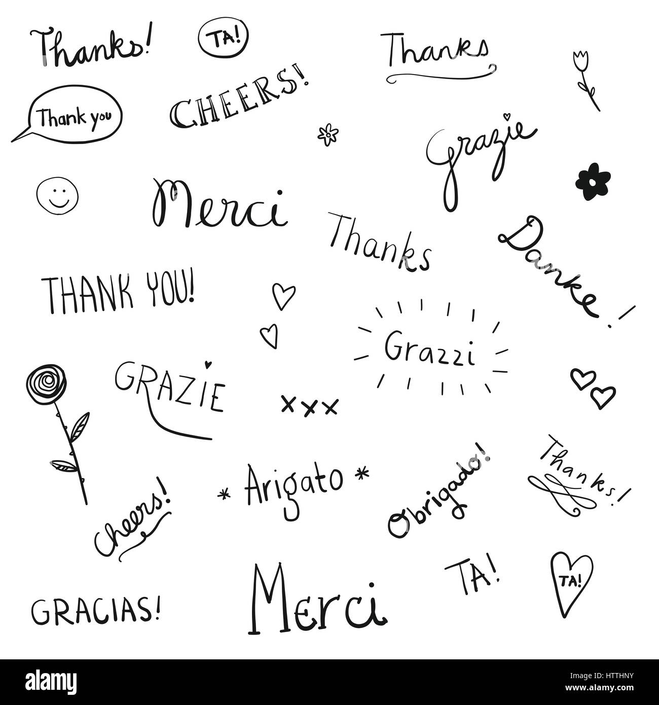 Thanks words Stock Vector