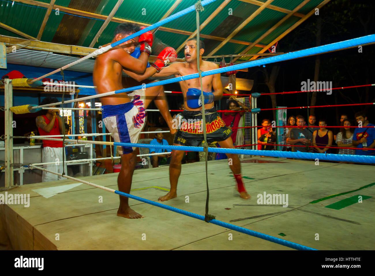 Muay Thai fight. - Stock Image