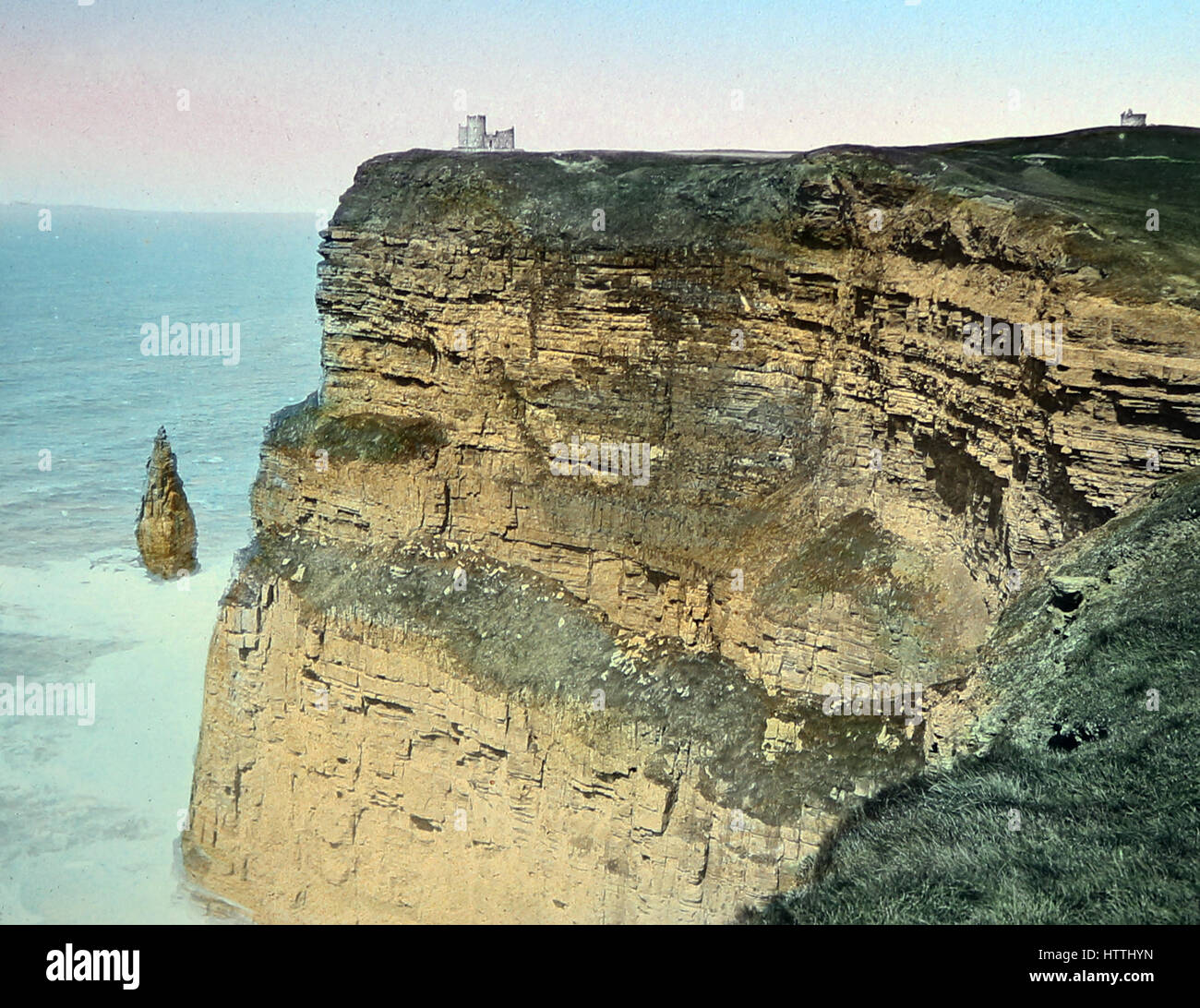 Cliffs of Moher, County Clare, Ireland - hand coloured photo - Victorian period - Stock Image