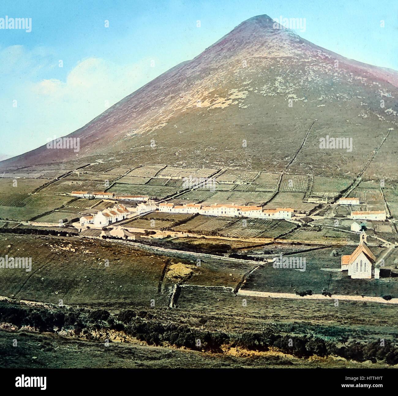 Dugort, Achill Island, County Mayo, Ireland - hand coloured photo - Victorian period - Stock Image