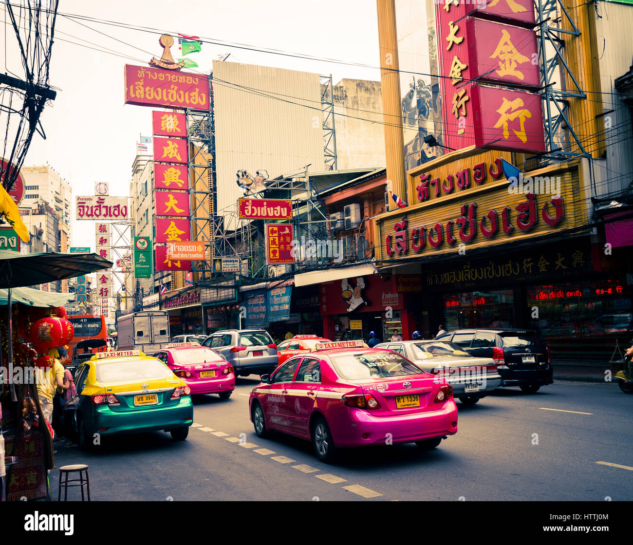 Taxis in Chinatown. Bangkok, Thailand. - Stock Image