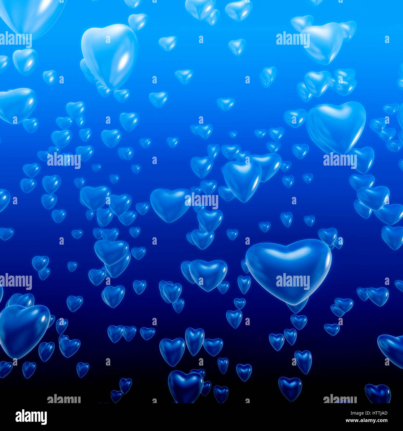 Heart bubbles underwater / 3D illustration of heart shaped bubbles rising toward ocean surface - Stock Image