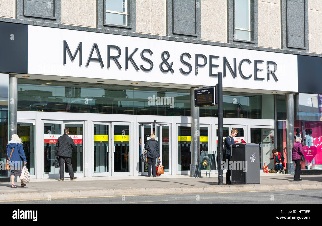 Marks and Spencer shop front. M&S store front in Brighton, East Sussex, England, UK. - Stock Image