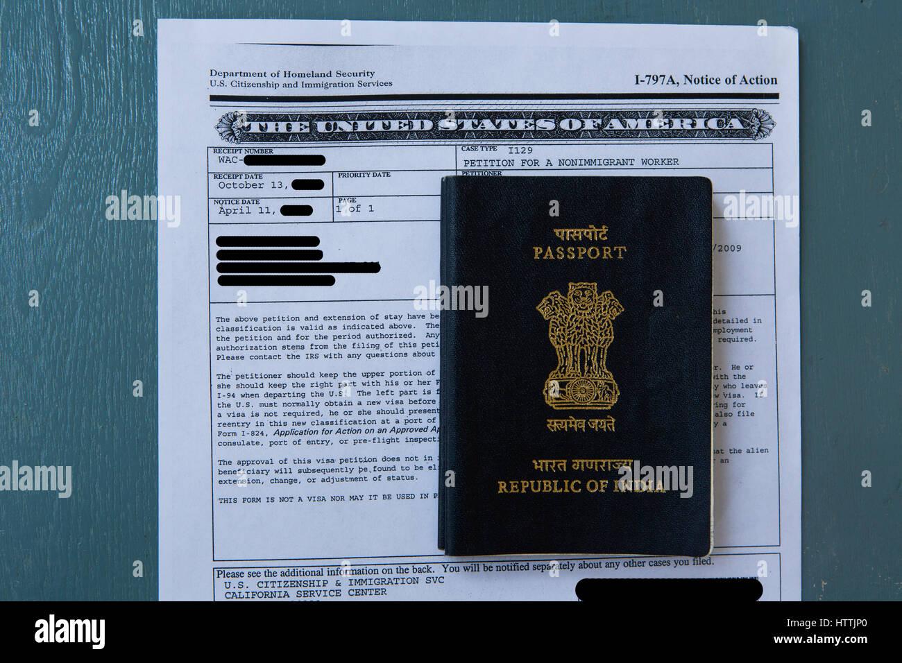 Close-up of H1-B Visa Petition and Indian Passport - Stock Image