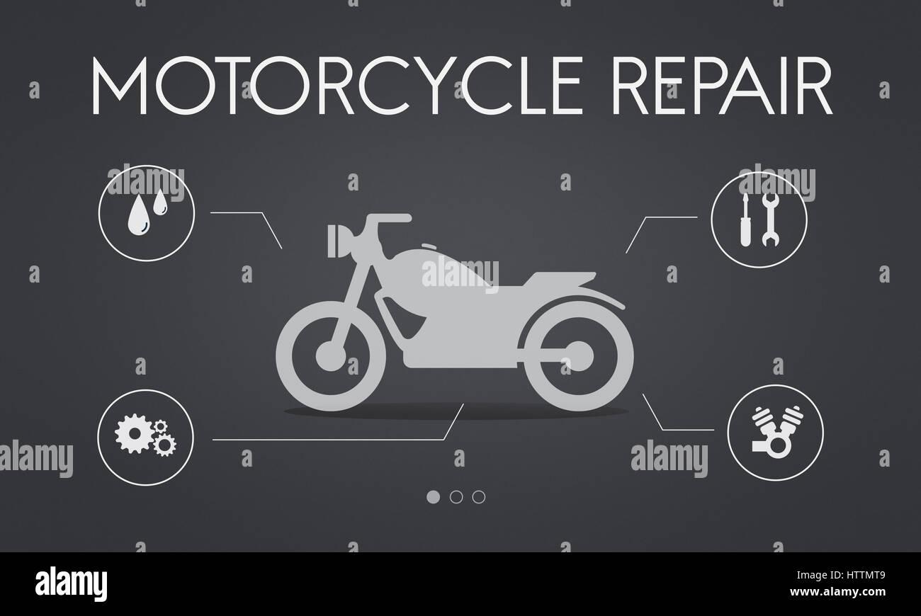 Motor Service Maintenance Motorbike Concept Stock Photo