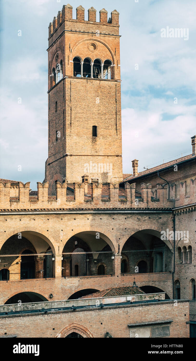 Arengo tower in Bologna downtown. Emilia-Romagna, Italy Stock Photo