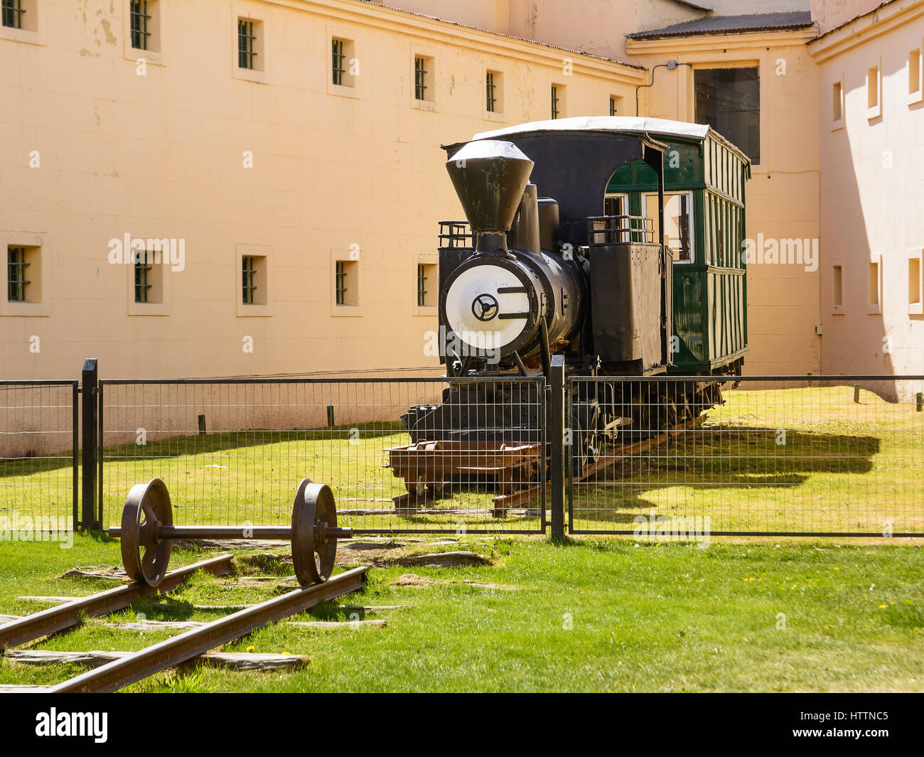 Ushuaia, Argentina - October 27, 2016: Old originl train in Marttime museum of Ushuaia with nobody - Stock Image