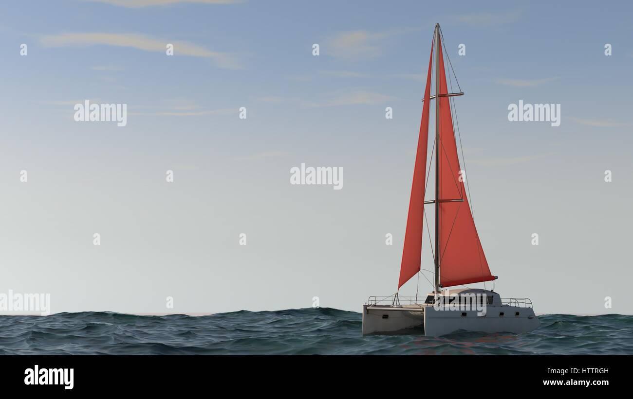 modert yacht in the ocean - Stock Image