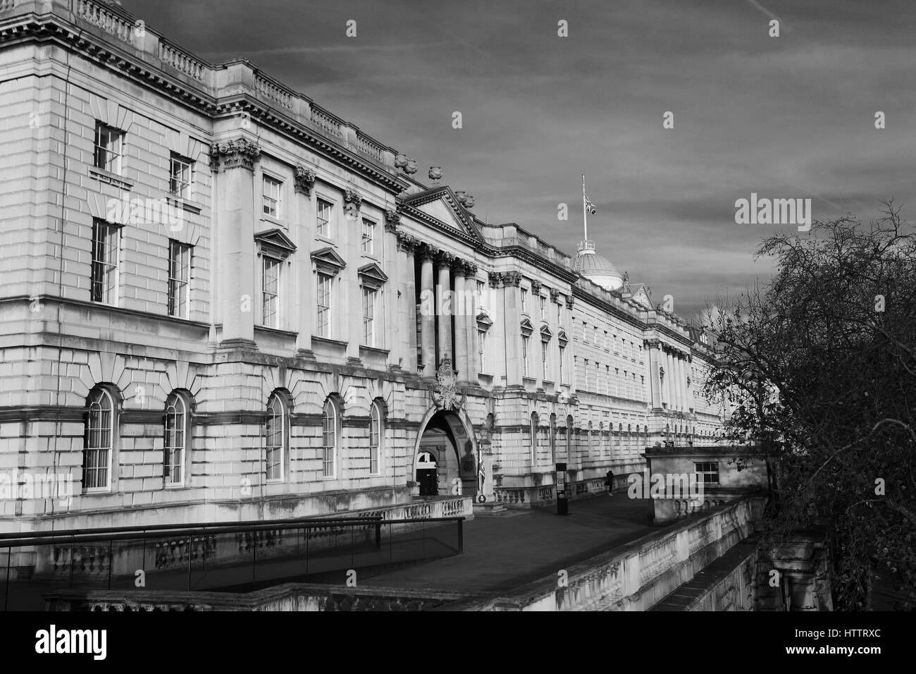 Somerset House, a large Neoclassical building situated on the south side of the Strand, North Bank, river Thames, - Stock Image