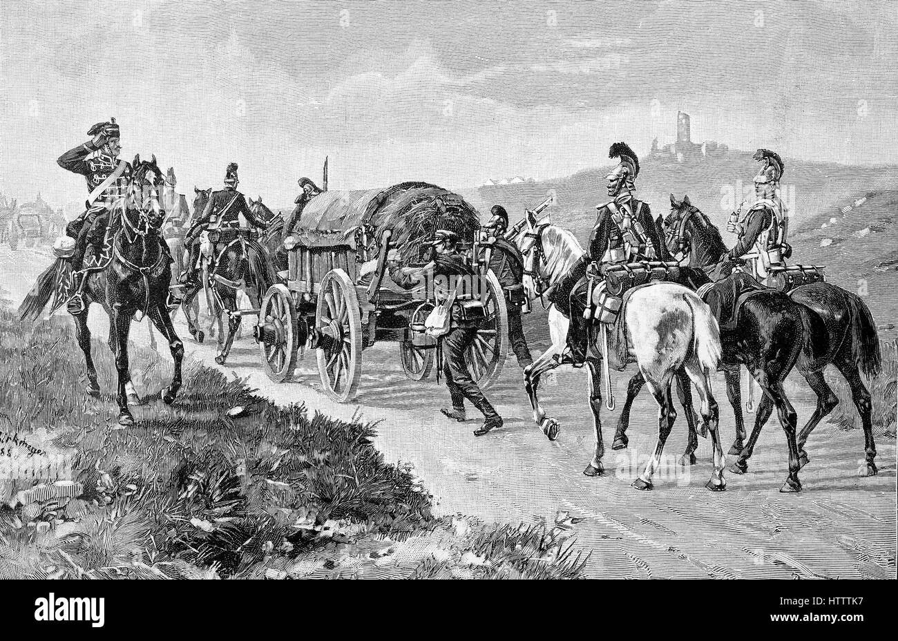 Military people in the Franco-Prussian War 1870 - 1871, A Bavarian Trainkolonne, designation for military transport, - Stock Image