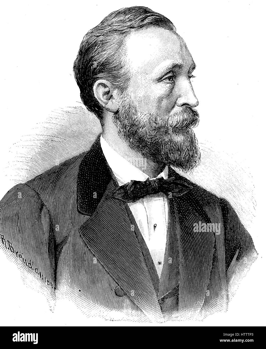 Heinrich von Stephan, born Ernst Heinrich Wilhelm Stephan, January 7, 1831 - April 8, 1897, was a general post director - Stock Image