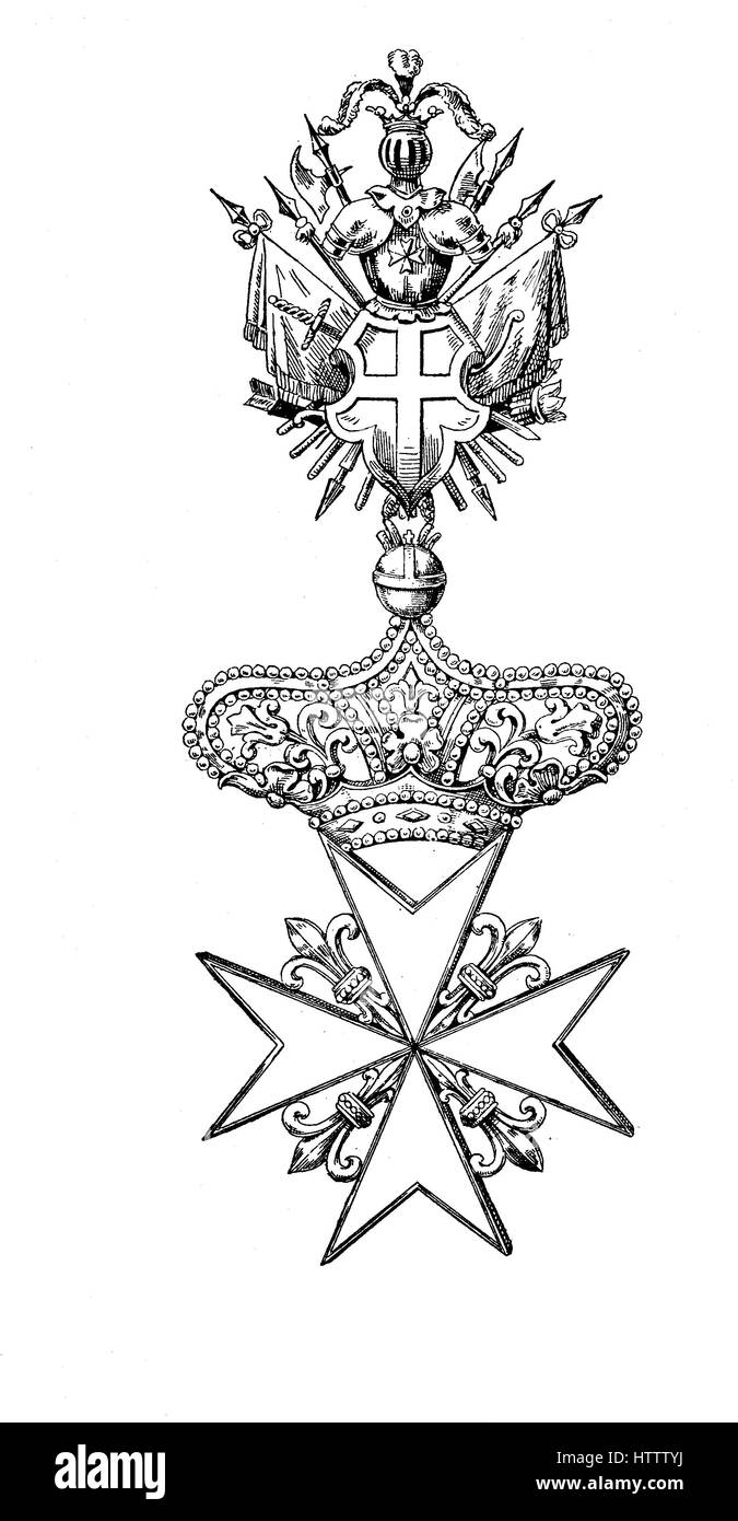 The Maltese cross is the cross symbol associated with the Order of St. John since 1567, reproduction of a woodcut - Stock Image