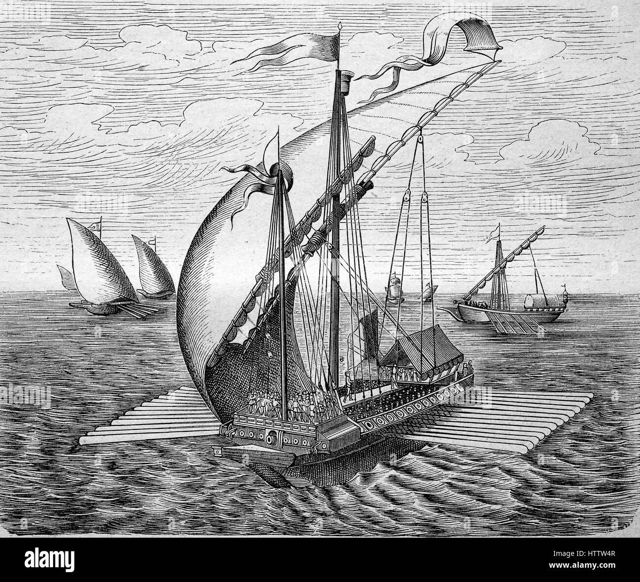 A Venetian galley sailing ship, Venice, Venezia, Italy, reproduction of a woodcut from 1882, digital improved - Stock Image