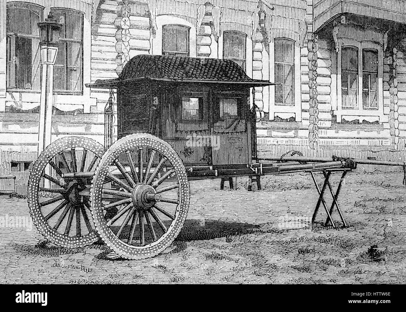 Chinese wagon, was used during the journeys through Mongolia, china, reproduction of a woodcut from 1882, digital - Stock Image