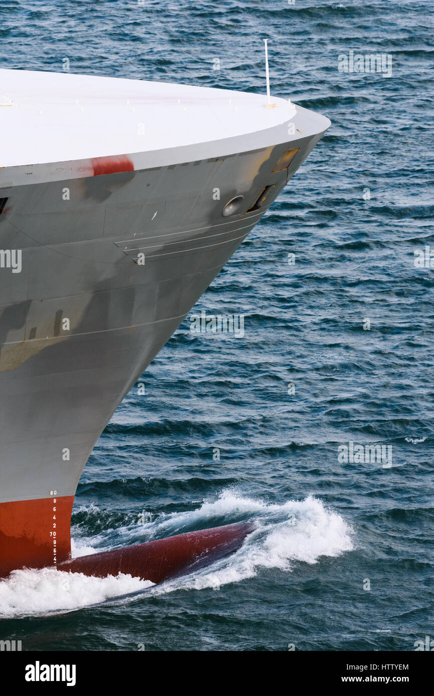 Bow wave created by the Auto Baltic Vehicle Carrier cargo ship Stock Photo