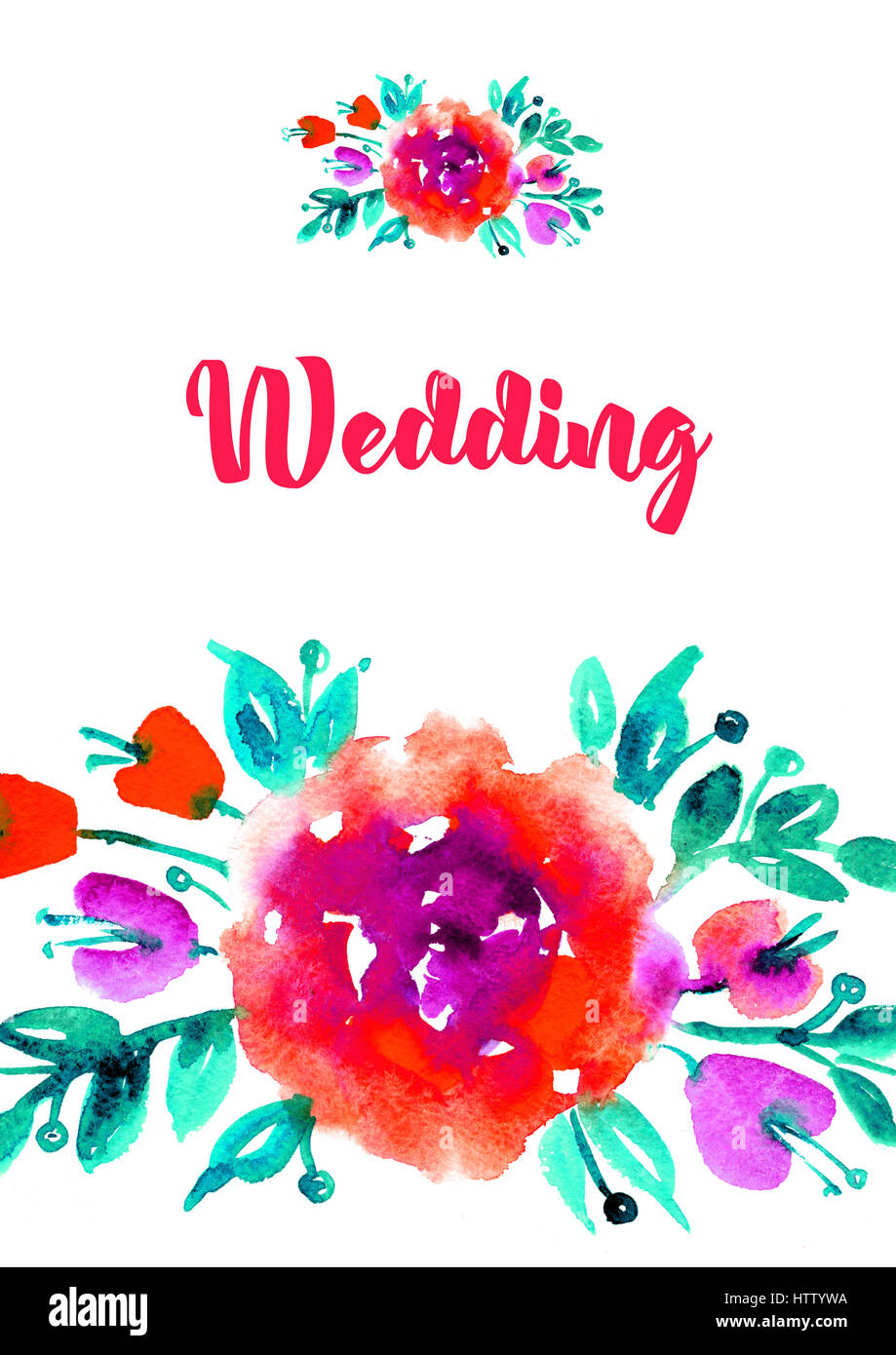 Vertical Greeting Card With Watercolor Roses Wedding