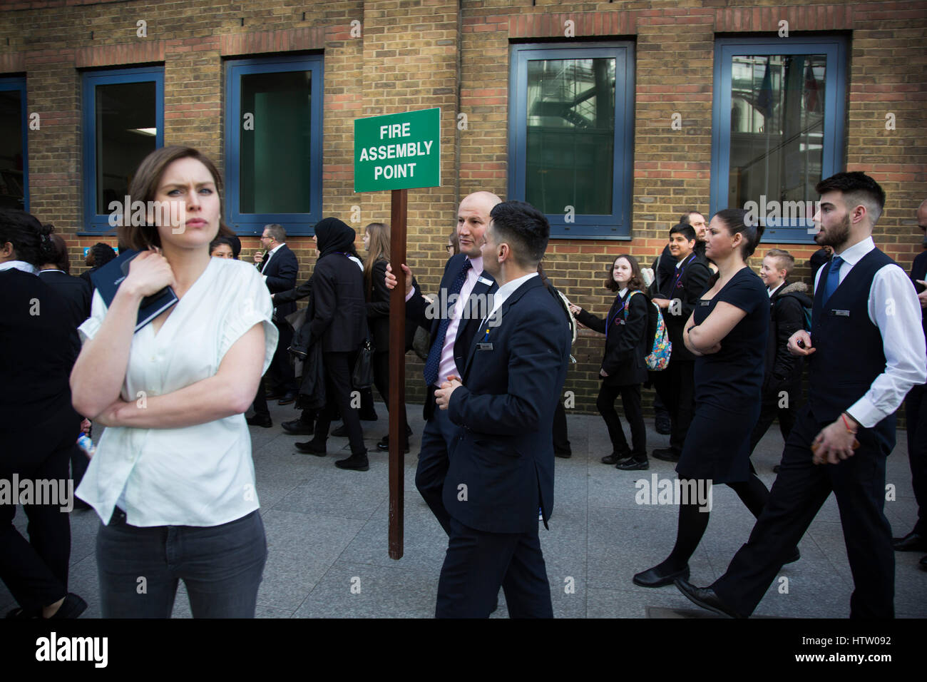 People being moved along after London Bridge Station was evacuated due to an abandoned vehicle on 7th March 2017, - Stock Image