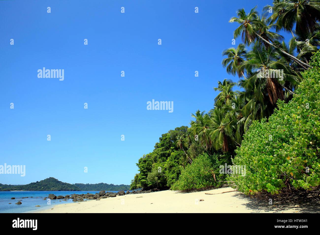 Tropical Beach of Coibita, aka Rancheria, with Isla Coiba in the Background. Coiba National Park, Panama Stock Photo