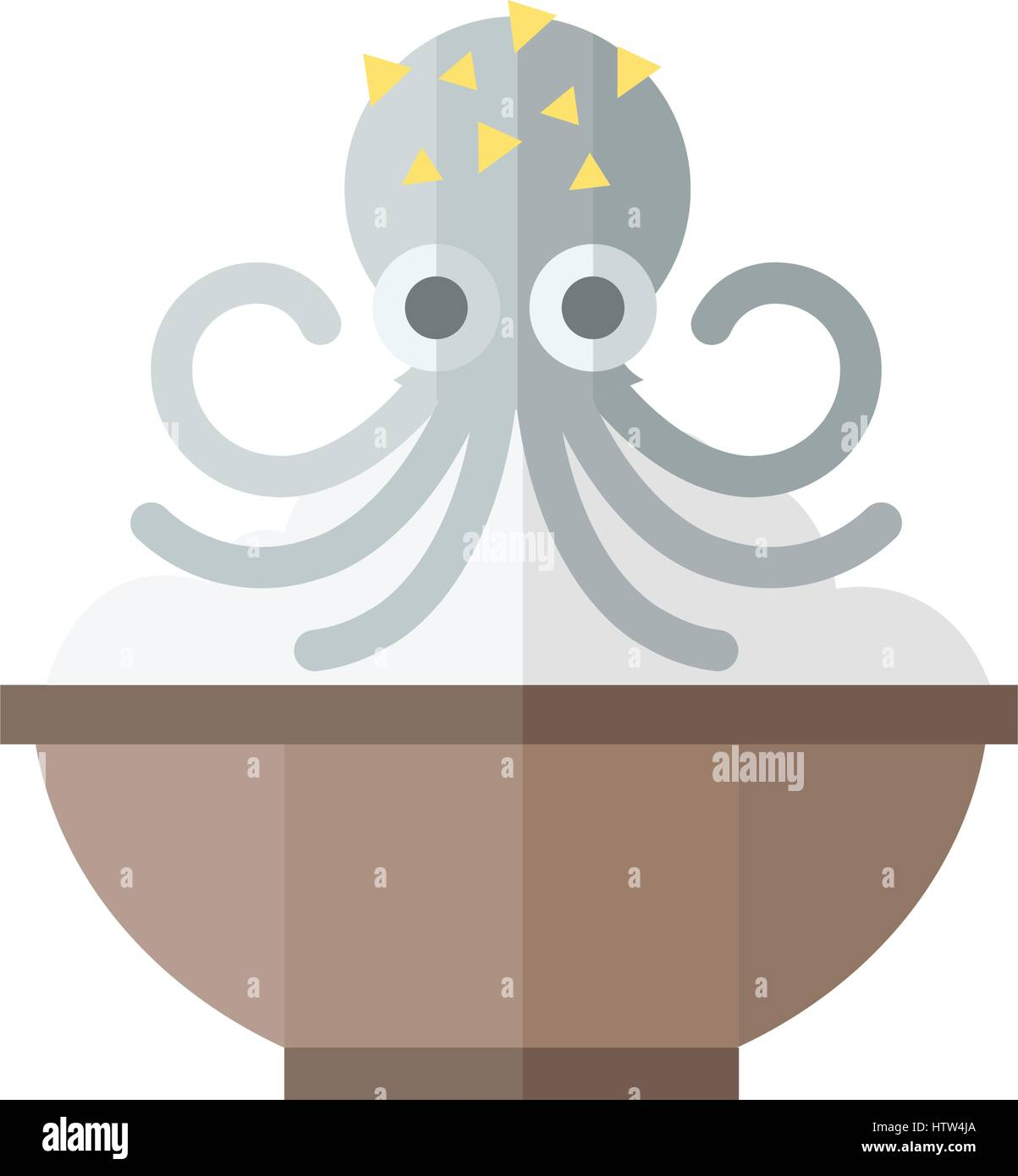 Gray Squid and rice Food - Stock Vector