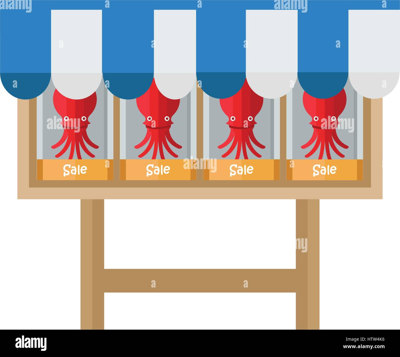 fresh Red Squid Shop - Stock Vector