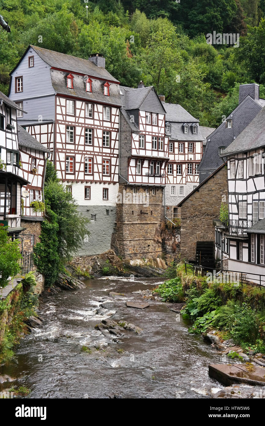 The Rur river in Monschau, North Rhine-Westphalia, Germany - Stock Image