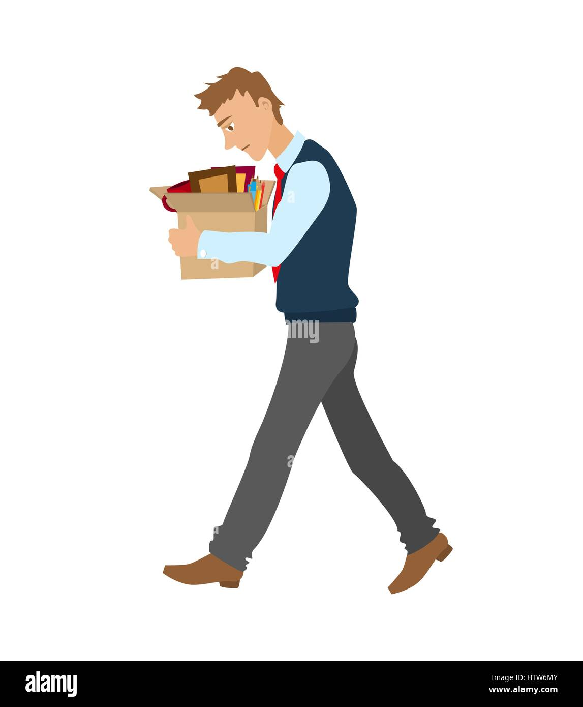 Getting fired flat vector illustration. man dismissed from work going with a box of personal belongings. - Stock Vector