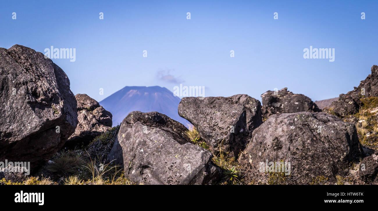 View on Ngauruhoe Volcano, Tongariro National Park, New Zealand - Stock Image
