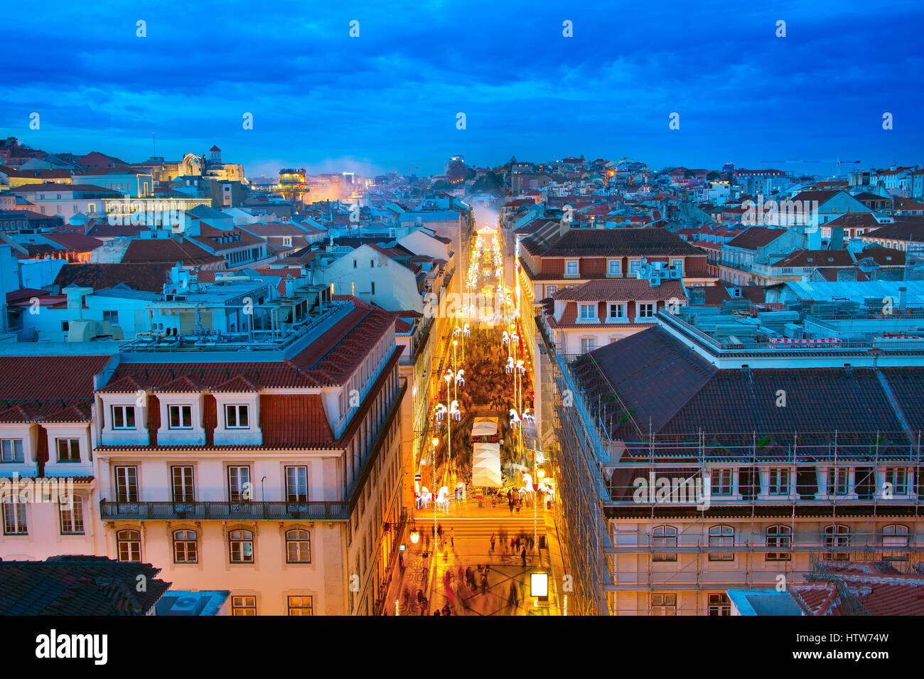 Aerial view of Augusta street and the Old Town of Lisbon at twilight. Portugal Stock Photo