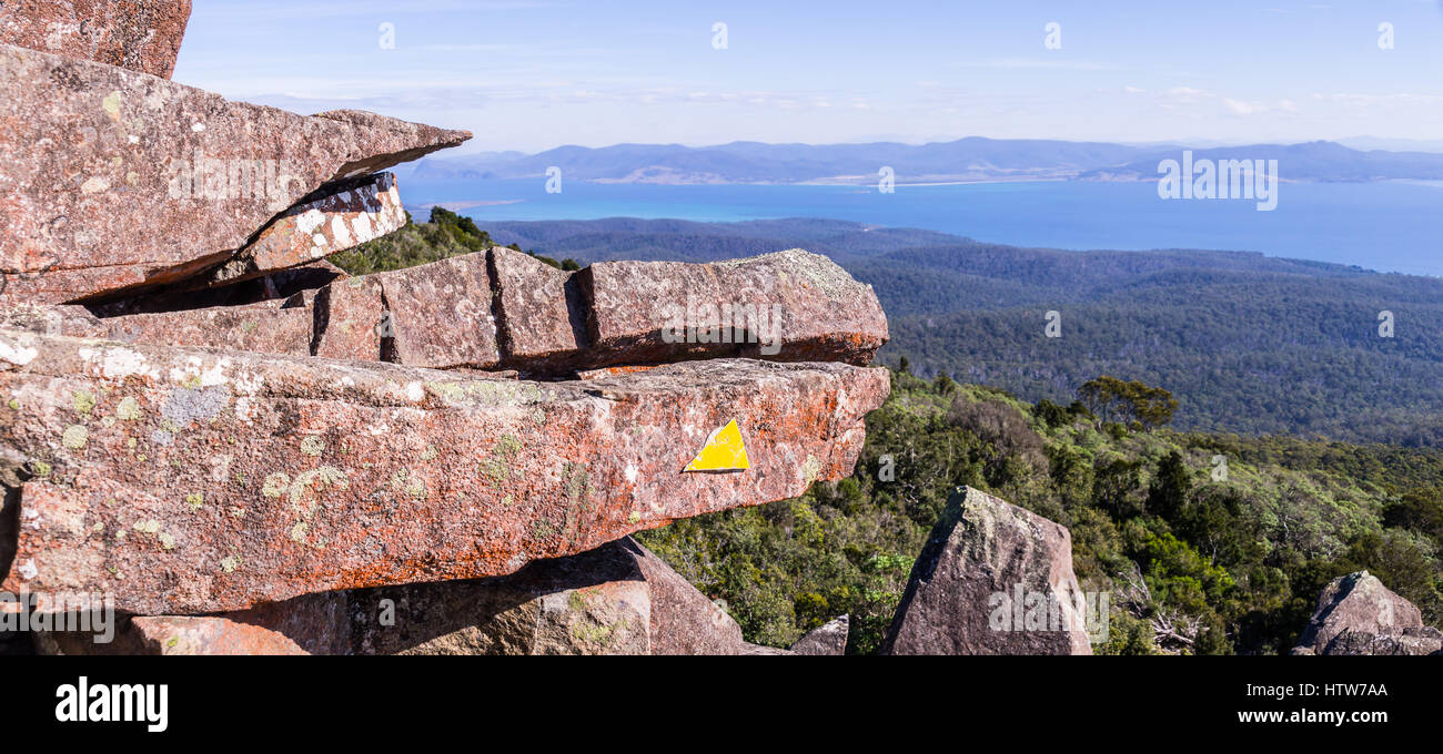 Bishop and Clerk peak on Maria Island, Tasmania, Australia - Stock Image