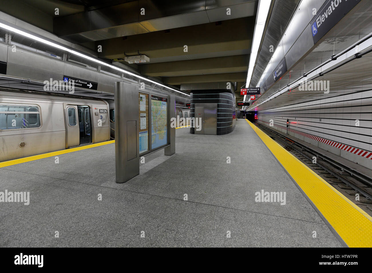 station interior of the Second Avenue Subway in New York City - Stock Image