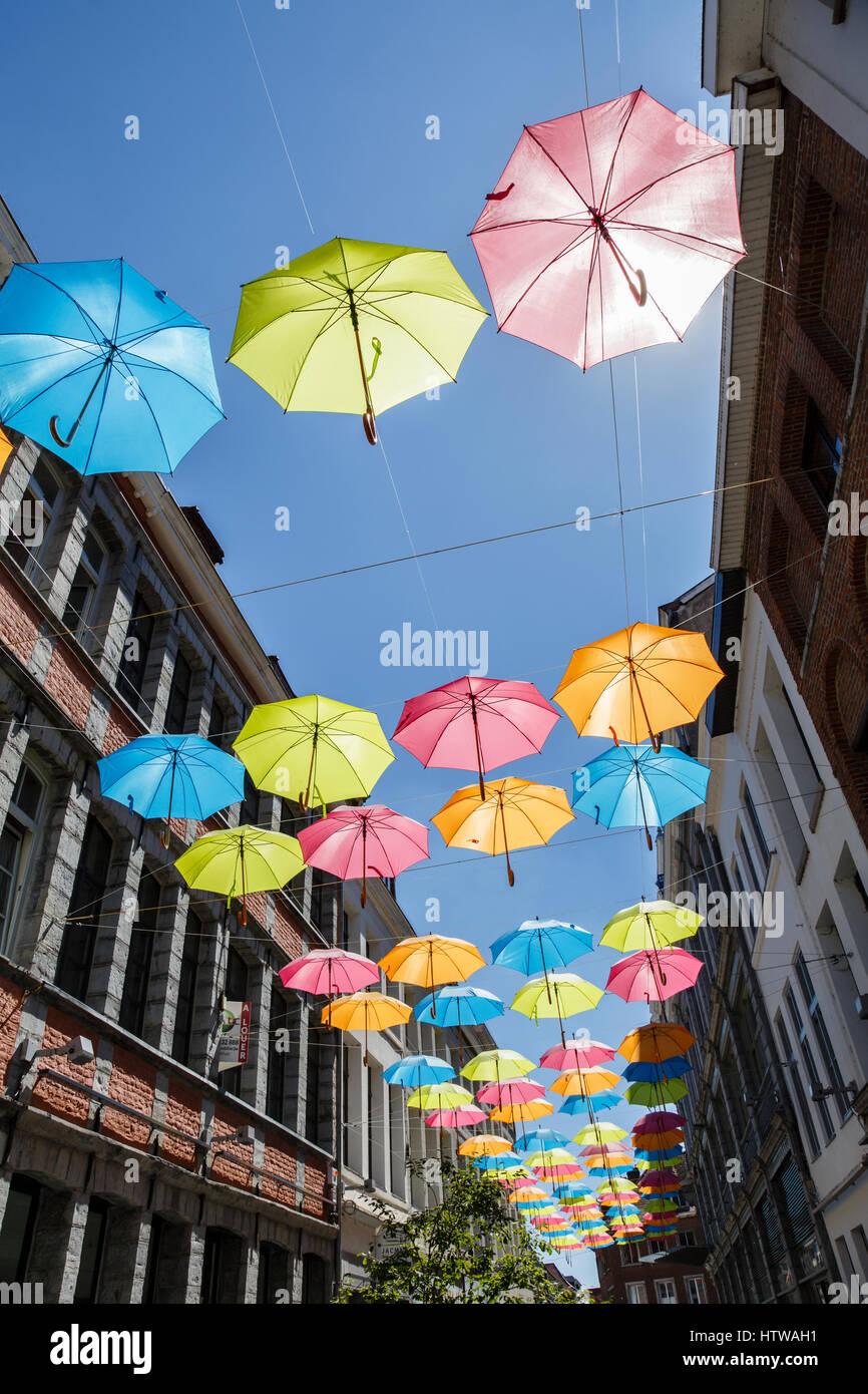 The Umbrella Sky Project installation in Tournai, Belgium Stock Photo