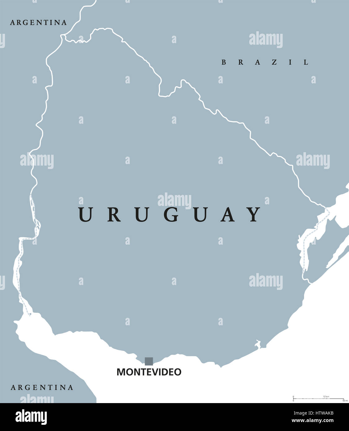Uruguay political map with capital Montevideo national borders and