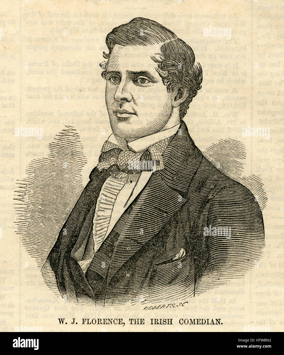 Antique 1854 engraving, 'W. J. Florence, the Irish comedian.' William Jermyn Conlin (1831-1891) better known - Stock Image