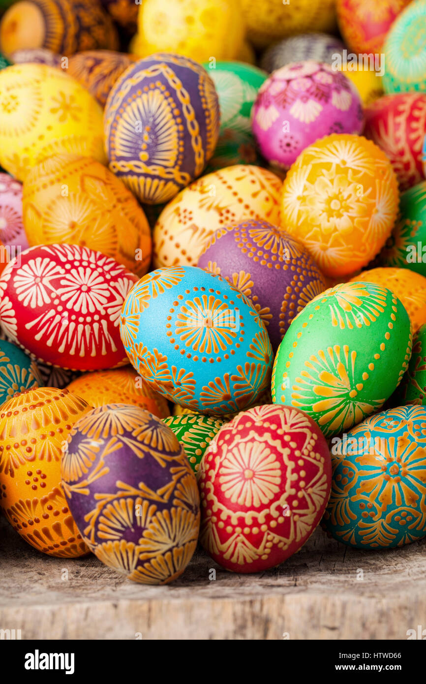 Easter eggs, Paschal eggs, decorated with beeswax - to celebrate Easter. Its old tradition in Lithuania, Eastern - Stock Image